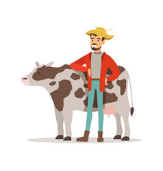 Farmer man caring for his cow farming and vector