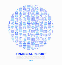 financial report in circle thin line icons vector image
