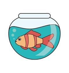 Fish animal cartoon inside bowl design vector
