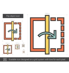 Flip object line icon vector image