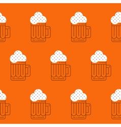 Foamy beer mug linear pattern vector
