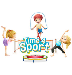 font design for word time for sport with kids vector image