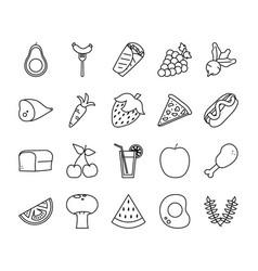 Food line style icon set design vector