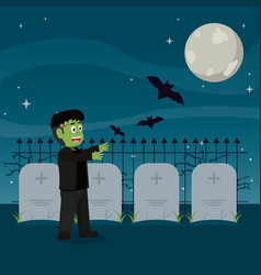 Frankenstein monster with bats and stones tablets vector