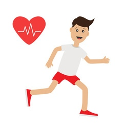 Funny cartoon running guy Heart beat icon Cute run vector image