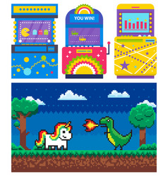 Game machine unicorn and dragon pixel vector