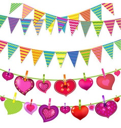 Garlands With Bunting Flags And Hearts vector image