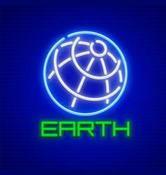 globe planet earth neon icon vector image