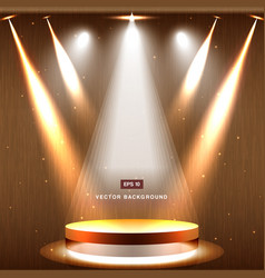 gold stage with spotlight and star on wood vector image