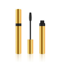 Golden realistic mascara tube with brush vector