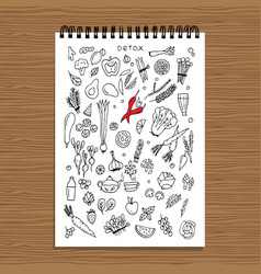 green vegetable set detox sketch for your design vector image