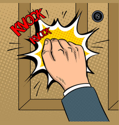 Hand knokning door pop art vector