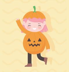 happy halloween cute little girl pumpkin costume vector image