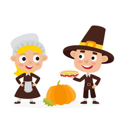 Happy thanksgiving day greeting card with people vector