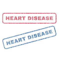 Heart disease textile stamps vector
