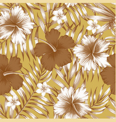 hibiscus brown palm leaves gold background pattern vector image