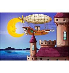 Kids watching the castle vector image
