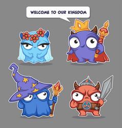 kingdom characters cute cartoon monsters vector image
