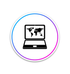 laptop with world map on screen icon isolated vector image