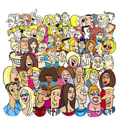 Large group of cartoon people characters vector