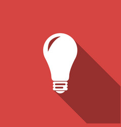 light bulb icon isolated with long shadow vector image