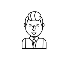 Line cute man with hairstyle design and shirt vector