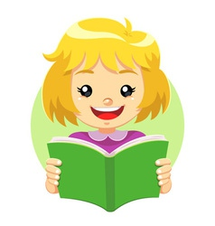Little Girl Reading A Green Book vector image