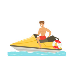 Male lifeguard in red shorts driving by water vector