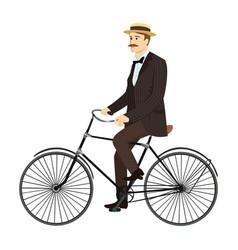 Man on retro vintage old bicycle gentleman vector