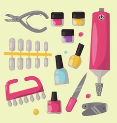 Manicure instruments hygiene hand care pedicure vector