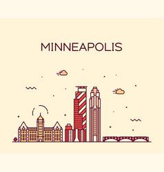 minneapolis city skyline minnesota usa city vector image