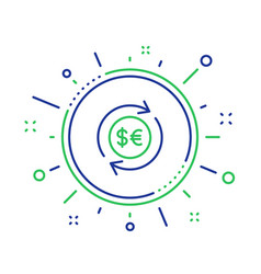 Money exchange line icon banking currency vector
