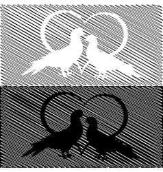 Monochrome silhouette of two doves and a heart vector image