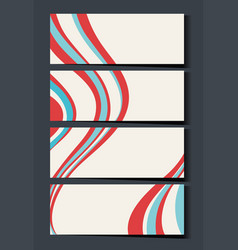 Namecard template with red and blue waves vector