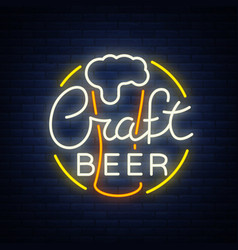 Original logo design is a neon-style beer craft vector