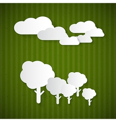 Paper Clouds Trees on Green Cardboard vector image