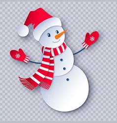 Paper cut snowman vector