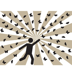Pictogram people and butterflies vector image