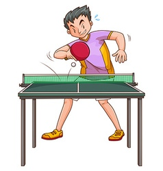 Pingpong player playing at the table vector