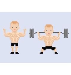Pixel art character athlet bodybuilder lifting vector