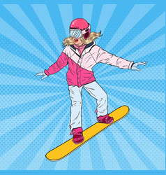 pop art woman snowboarder on the slopes vector image
