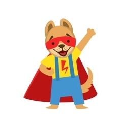 Puppy Animal Dressed As Superhero With A Cape vector