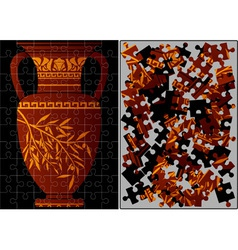 Puzzle of greek amphora vector