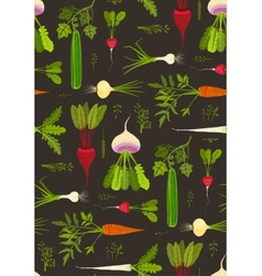 Root Vegetables with Leafy Tops Dark Seamless vector