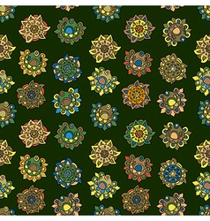 Seamless abstract background with ethnic flowers vector