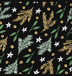 seamless pattern with branches of christmas tree vector image