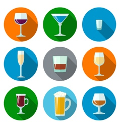 Set flat design alcohol glasses icons vector