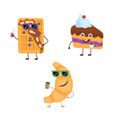 set of funny characters from croissant belgian vector image