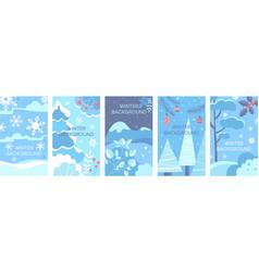 Set winter landscape backgrounds flat vector