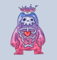Skeleton in a jelly monster cartoon vector